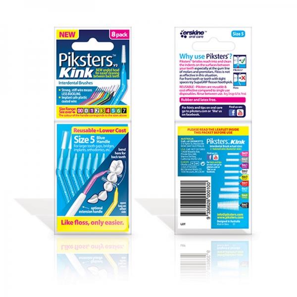 Piksters Interdentalbürsten abgewinkelt für Zahnzwischenraum-Reinigung 8er Pack