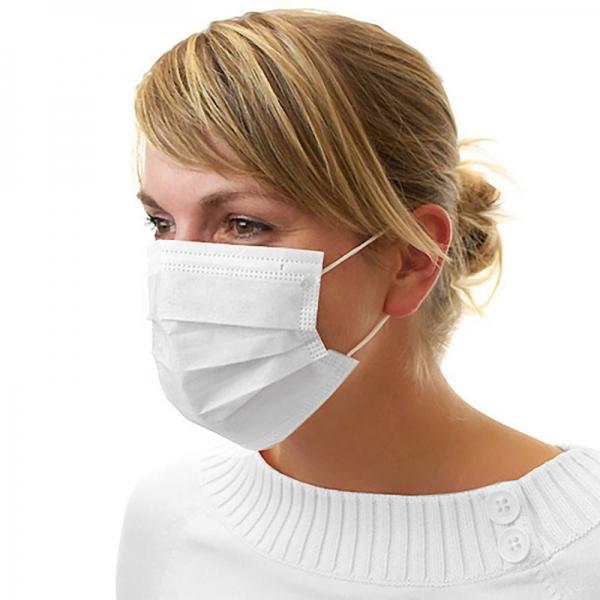Dental Mundschutz Gesichtsmaske mit Nasenbügel und Ohrbändern weiss