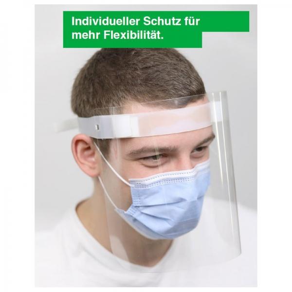 Gesichtschutzvisier mit individuell einstellbarem Kletttrageband