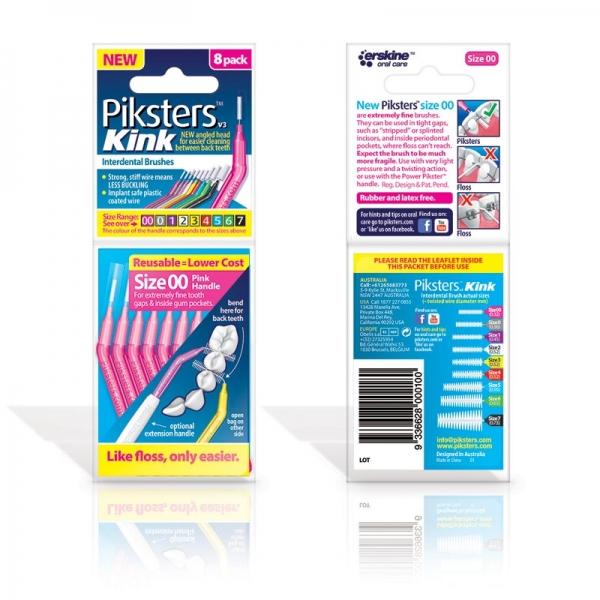 Interdentalbürstchen abgewinkelt Größe 00 rosa 8 Stück Piksters Kink PKK008