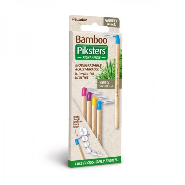 Interdentalbürstchen gemischt abgewinkelt Piksters Bamboo 4er Packung
