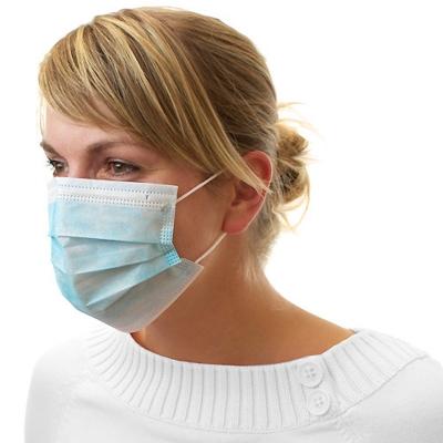 Dental Mundschutz Gesichtsmaske mit Nasenbügel und Ohrbändern blau