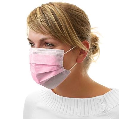 Dental Mundschutz Gesichtsmaske mit Nasenbügel und Ohrbändern rosa